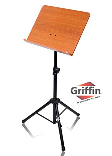 Wood Sheet Music Stand by Griffin|Portable Musical Instrument Accessory for Conductors, Violin, Clarinet, Guitar & Other Players|Pro-Audio Metal Folding Tripod Design with Stand-Alone Bookplate ()