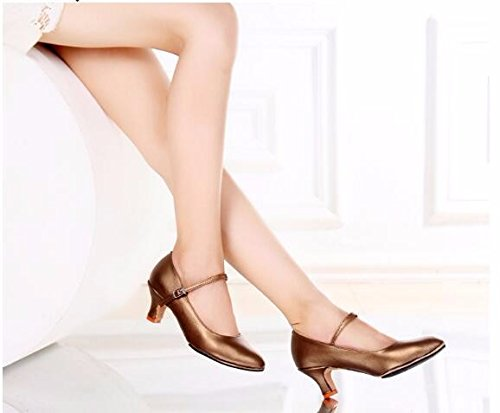 SQIAO-X- Scarpe da ballo Kraft chiusura fondo morbido, per adulti di ballo latino Square Dance ballo sociale e danza moderna Professional scarpe da ballo, rosso,41