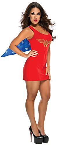 [Rubie's DC Comics Justice League Superhero Style Adult Dress with Cape Rhinestone Wonder Woman, Red, Small] (Womens Tank Dress Wonder Woman Costumes)