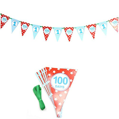1Set Colorful Paper Flag Banner&Flags Garland Floral Bunting Banners DIY Kids Birthday/Wedding Event Party Decoration Supplies Red 100 days -
