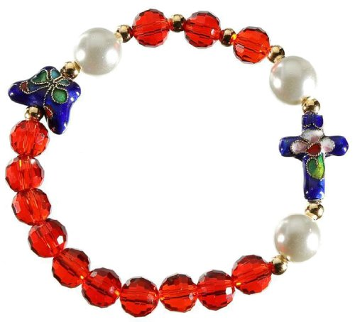 Catholica Shop Red Decade Rosary Bracelet Cloisonne Cross | Butterfly Pendant