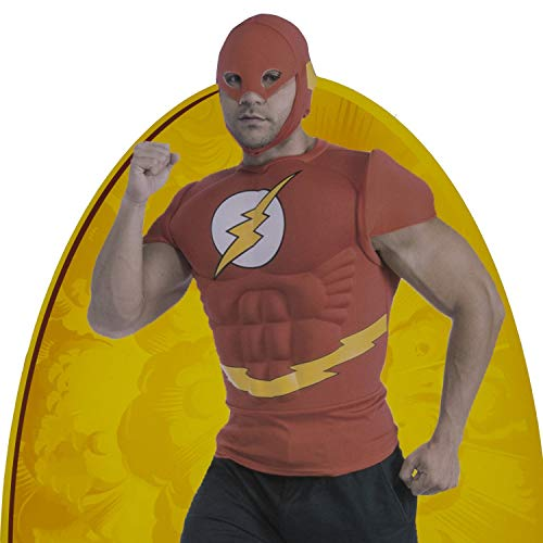 The Flash Muscle Chest Top with Mask, Red, Standard (Flash Mask Adult)