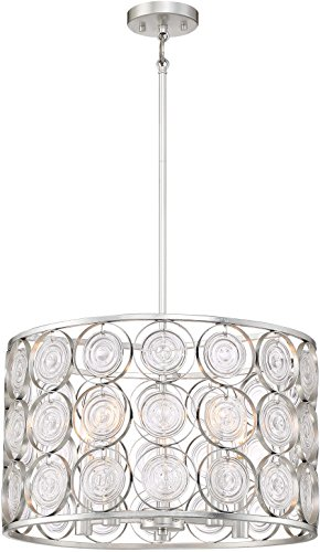 Minka Lavery Crystal Pendant Ceiling Lighting 4666-598 Culture Chic, 5-Light 300 Watts, Catalina Silver