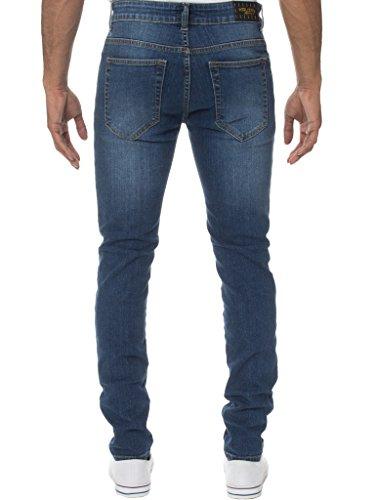 KRUZE Herren Designer Freizeit Markiert Jeans Dehnbar Super Enge Jeans Hose - Herren, Mid Steinwäsche, 40W x 30L