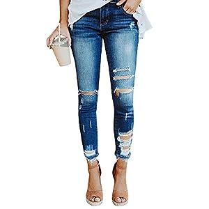 1b275b77008f3 Geckatte Womens Juniors Distressed Ripped Skinny Jeans Stretch Ankle Length Denim  Pants