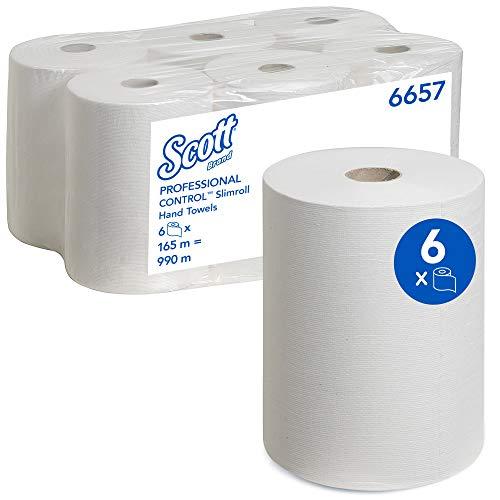 Scott 6657 Slimroll handdoeken, 1-laags, 6 rollen x 165 m, wit