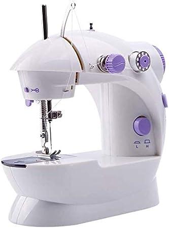 GXK - Máquina de coser portátil de doble velocidad - Doble interruptor de iniciación de tela para principiantes - Uso de viaje en familia portátil morado