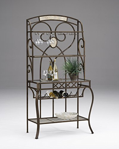 (Hillsdale Brookside Baker's Rack, Brown with Fossil Stone )