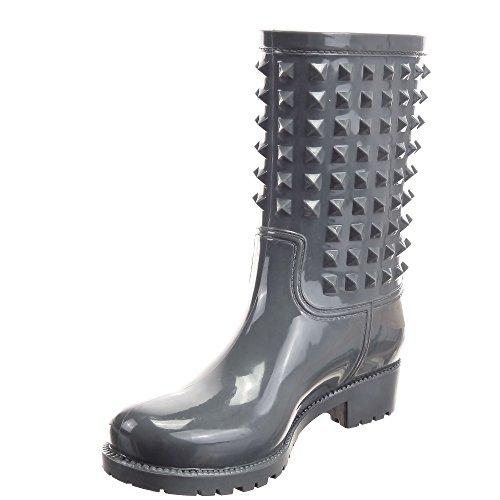 Sopily - Scarpe da Moda Stivaletti - Scarponcini Stivali pioggia Cavalier al polpaccio donna Tacco a blocco 3.5 CM - Grigio