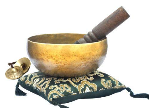 6'' Superb Crown Chakra Tibetan Singing Bowl for Meditation, Sound Healing, Yoga & Sound Therapy. Made of 7 metals. Cushion & Suede leather Wooden Mallet Tingsha Cymbals~Handmade in Nepal by Thamelmart by TM THAMELMART FOR BEAUTIFUL MINDS (Image #5)