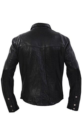 Giacca Casual Camicia Pelle In Denim Jeans Stile Nera Uomini pnf1q86n