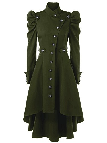 Beebeauty Gothic Vintage Womens Steampunk Victorian Swallow Tail Long Trench Coat Jacket (XL, Green) -