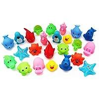 SKKSTATIONERY Squeak Bath Toys 24 Pcs, Cute Animals, Soft Rubber Squeeze Sound, Wash Shower Bath Toys for Kids