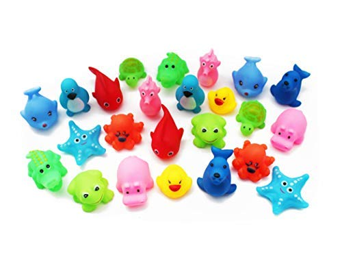 SKKSTATIONERY Squeak Bath Toys 24 Pcs, Cute Animals, Soft Rubber Squeeze Sound, Wash Shower Bath Toys for Kids