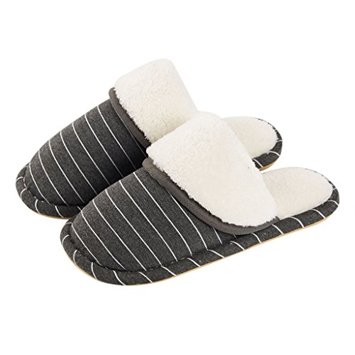 Slippers DWW Cotton Male Winter Indoor Slip Resistant Home Warm Waterproof Striped Breathable Shoes Gray Jt6Nnh09l