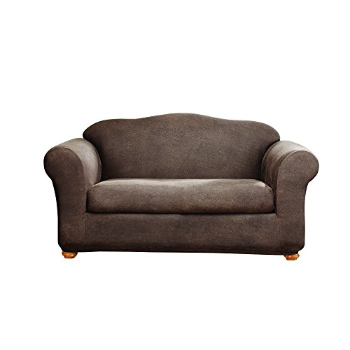 Sure Fit Stretch Leather 2-Piece - Sofa Slipcover  - Brown (Faux Suede Slipcover)