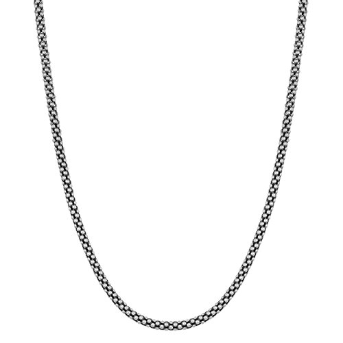 (Oxidized Sterling Silver 1.4mm Popcorn Chain (18)