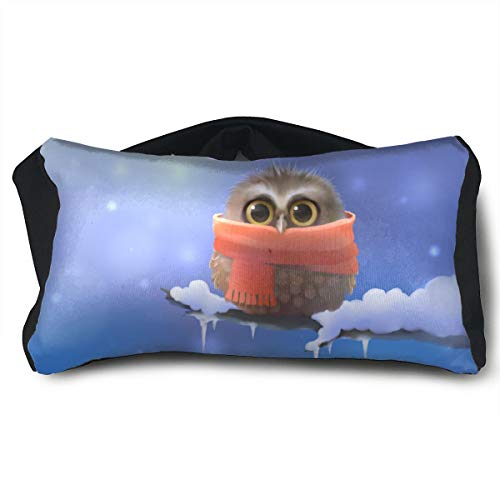 SUNNMOON Animal Lovly Owl with Scarf Neck Travel Pillow and Eye Mask Compact Versatile and Pillow for Airplanes, Travel Pillow and Eye Mask Washable Pillows by SUNNMOON