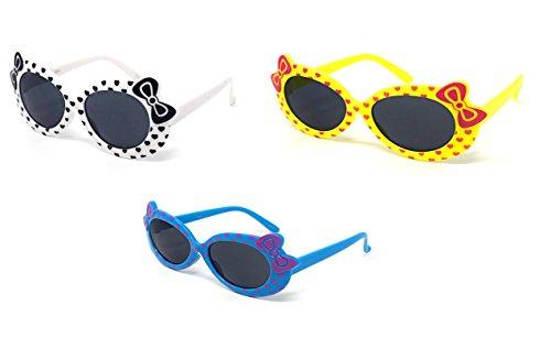 1 White 1 Yellow 1 Blue Coloured Childrens Kids Girls Stylish Cute Designer Style Sunglasses with a Bow and heart Style UV400 Sunglasses Shades UVA UVB - Uk Sunglasses Eyelevel
