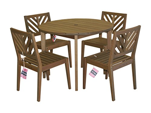 Timbo Mestra Hardwood Outdoor 4 Seat Patio Dining Set with Round Table & 4 Chairs with No Arms, Dining Set, Brown