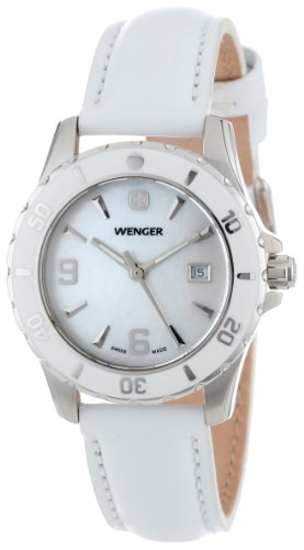 Wenger Women's 70382 Sport Mother-of-Pearl Dial White Leather Watch