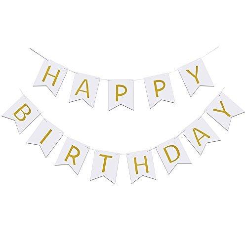 Elsky Happy誕生日バナー、シックなホワイトとゴールドパーティーデコレーション、多用途、美しい、Swallowtailホオジロフラグガーランド   B01L1QWXZ6