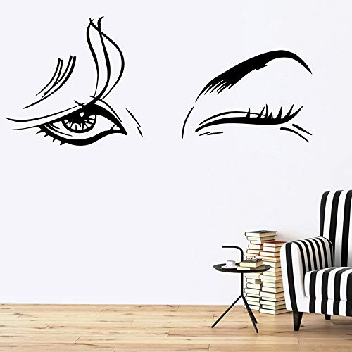 (Jiesa Decals Stickers Wall Words Sayings Removable Lettering Beautiful WomanVinyl Beauty Salon Female Eye Makeup Sexy Girl Art for)