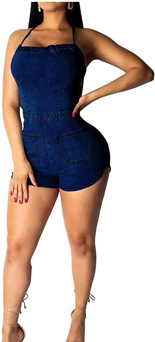 GAGA Women Pockets Backless Spaghetti Strap Club Summer Denim Short Jumpsuits