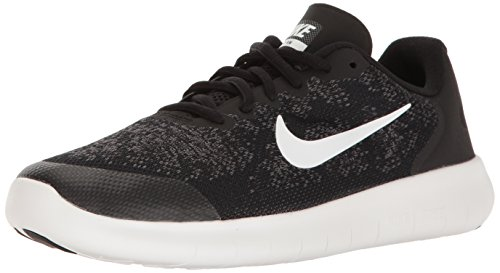 Nike Kids Free Rn 2017 (GS) Black/White Dark Grey Running Shoe 6 Kids US -