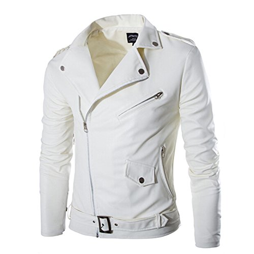 Mens White Leather Motorcycle Jacket - 4