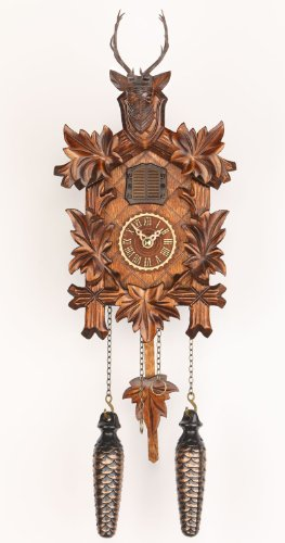 Trenkle Quartz Cuckoo Clock 5 Leaves, Head of a Deer TU 371 Q