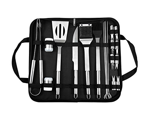 - BOHK Professional BBQ Grill Tools Set 20 Pieces Heavy Duty Stainless Steel Grilling Utensils Barbecue Accessories With Storage Case - Portable Outdoor Camping Smoker Kit, For Men