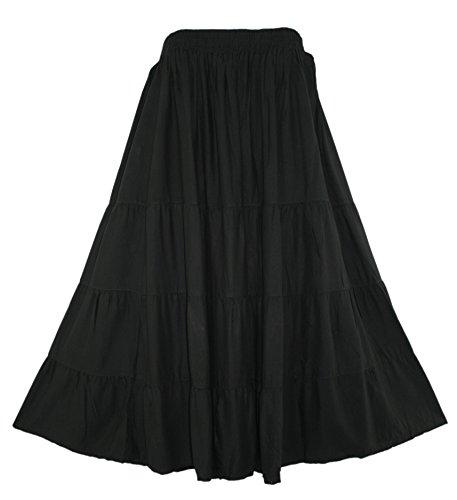 Plus Size Broomstick Skirt - Beautybatik Black Boho Gypsy Long Maxi Tiered Skirt 3X