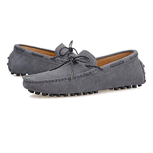 Suede Genuino Minimalism shoes Caucho Sole Gris Mocasines Cuero Loafers Marrón Hombre para Hongjun Penny 2018 Studs Color de EU Conducción 44 tamaño Mocasines Ligero Hombres los Barco 0adz8qw