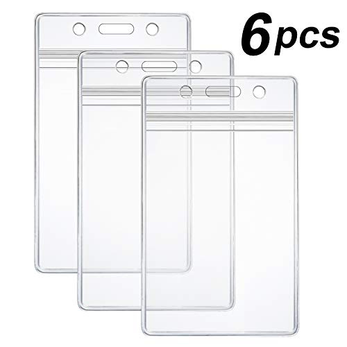 Holder Clear Cover Plastic Label (6 Pcs Heavy Duty ID Card Badge Holder Clear Vertical APVC with Waterproof Type Resealable Zip)
