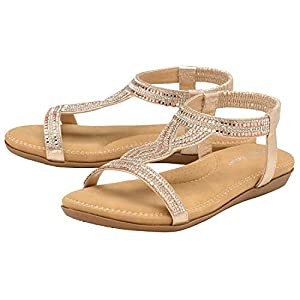 Dunlop Womens Jaden Or Cynthia Sparkly Sandals Cynthia – Rose Gold – UK 5