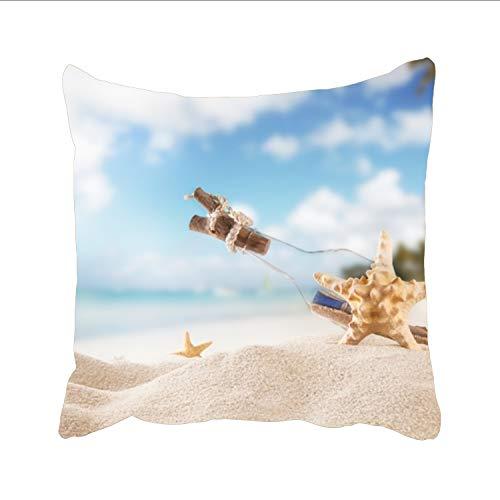 Ranhkdn Soft Decorative Square Throw Pillow Covers Sandy Beach Under The Blue Sky Cushion Cases Pillowcases for Sofa Bedroom Car 18 x 18 (Dreamsack White Pillowcase)