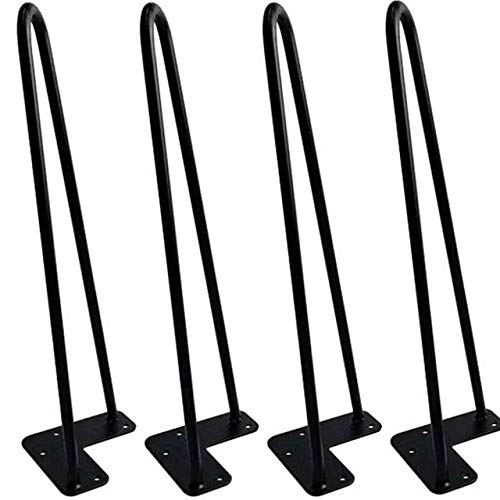 Hairpin Table Legs (Set of 4), Heavy Duty Satin Black Steel Rods for Industrial Design Look (16 Inch)
