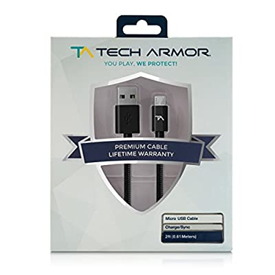 Tech Armor Hi-Speed USB Micro-USB Cable - 2FT - USB A to Micro-USB Cable - Sync and Charge Phone and More