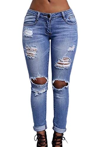 yulinge Las Mujeres Jeans Rasgado Destoryed Denim Pantalones Largos Novio con Bolsillo Azul