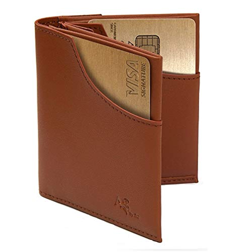 - Slim Men's Wallet RFID Blocking Compact Front and Back Pocket Leather Card Holder (Brown)