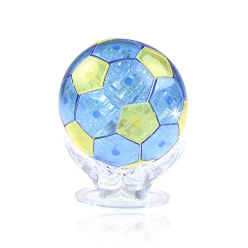 Gbell 3D Crystal Puzzle Cute Football Model DIY Gadget Blocks Building Toy Gift (Blue)