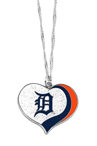 - aminco Detroit Tigers MLB Sports Team Logo Charm Gift Glitter Heart Necklace