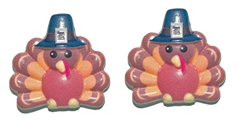 Turkey With Pilgrim Hat Thanksgiving Stud Earrings (H293)