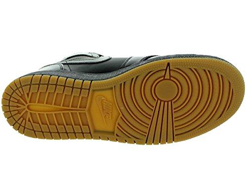 Zapatillas De Baloncesto Nike Hombres Air Jordan 1 Mid Negro / Gum Marrón Claro