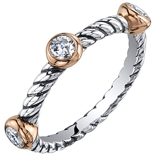 Peora Cubic Zirconia 3-Stone Stackable Ring in Sterling Silver, Cable Rope Band for Women 2.1mm Sizes 7 (Slim Rope Style Stackable Ring)
