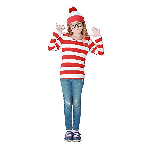 Where's Waldo Costume Kids (Adkinly Unisex Wheres Waldo/Wally Kids Costume Kit, Red/White, X-Large-Height(130-140)cm)