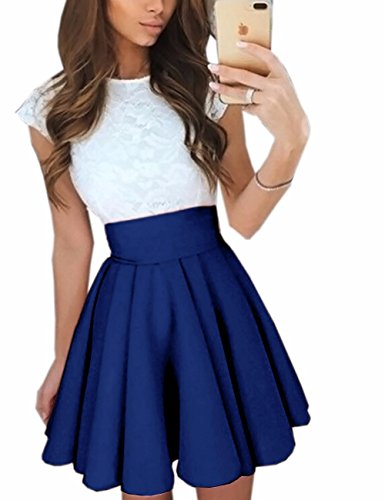 Imagine Women'S Basic Solid Versatile Stretchy Flared Casual Mini Skater Skirt, Dark Blue, SMALL