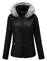 Escalier Women`s Winter Faux Fur Hooded Warm Jacket Coat Outwear