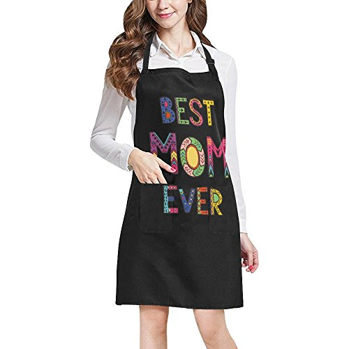 (InterestPrint Funny Mother's Day Gift Apron Best Mom Ever Adjustable Bib Apron with Pockets for Mom Mommy for Cooking Baking Gardening, Large)